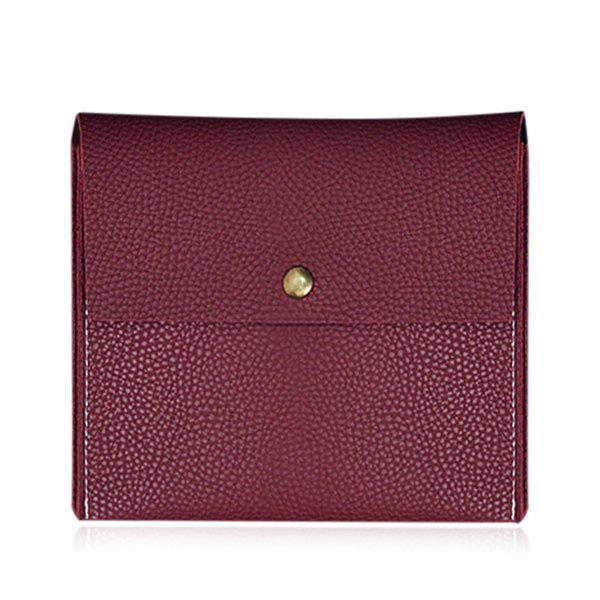 Magnetic Closure Square Shape Metal Crossbody Bag - WINE RED