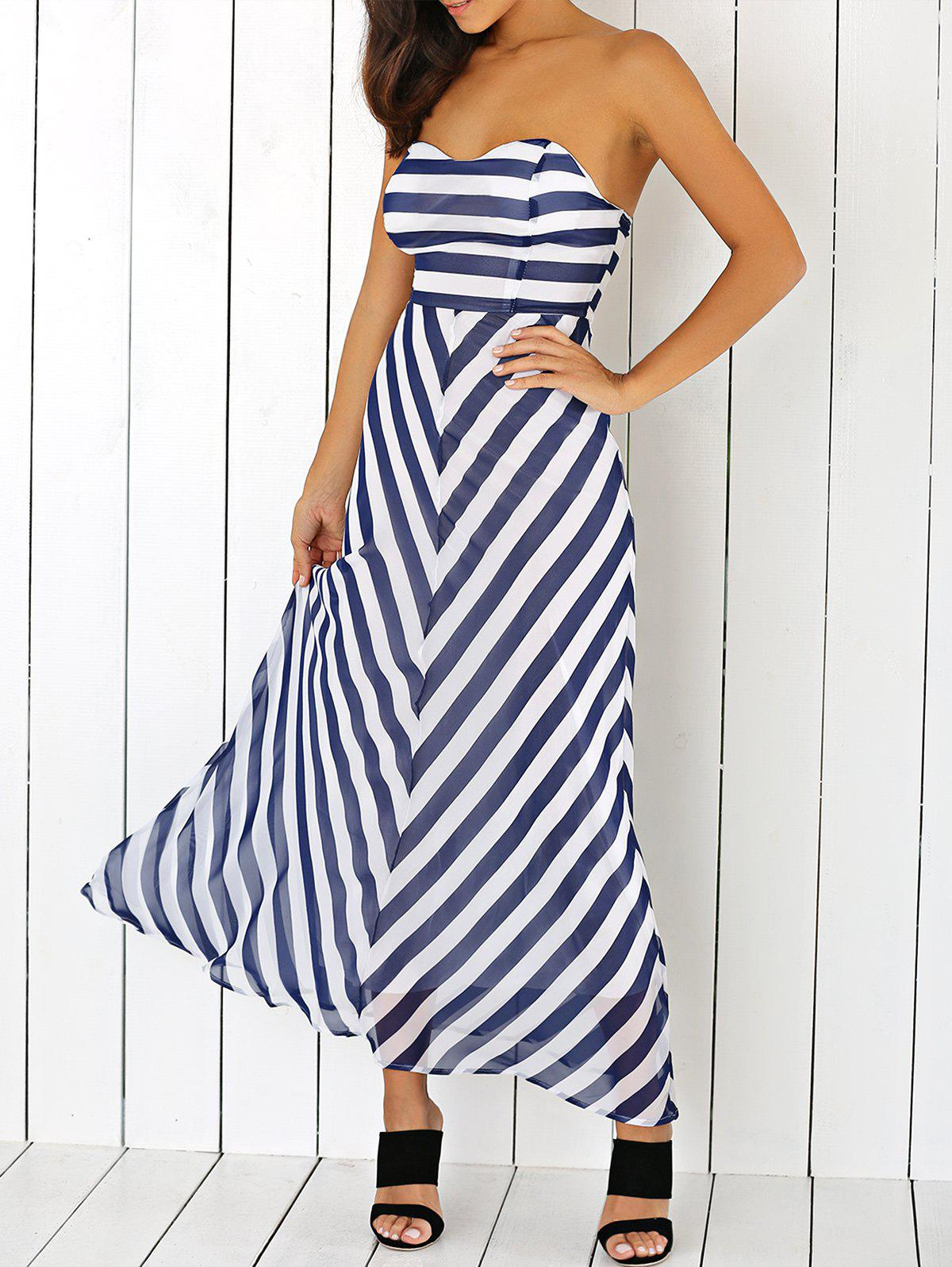 Striped High Waist Strapless Maxi Dress - PURPLISH BLUE XL