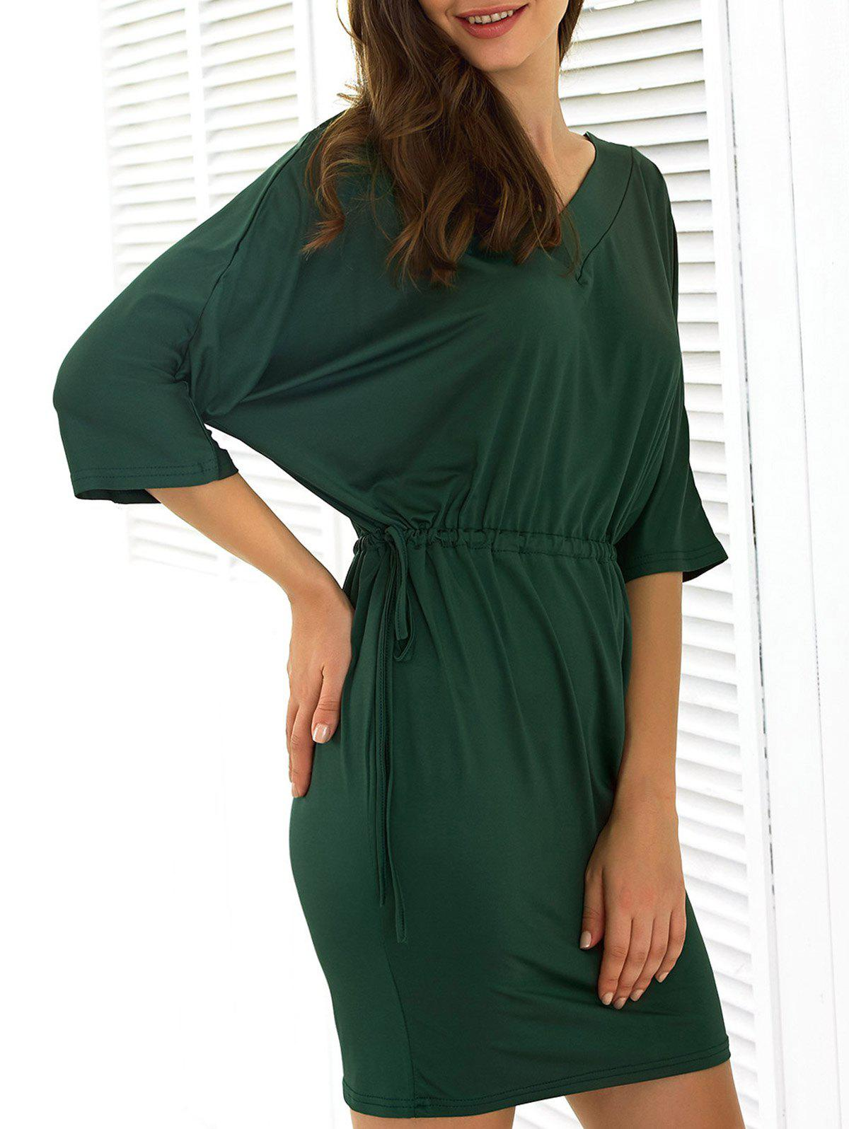 Batwing Sleeve Drawstring Dress - GREEN 3XL