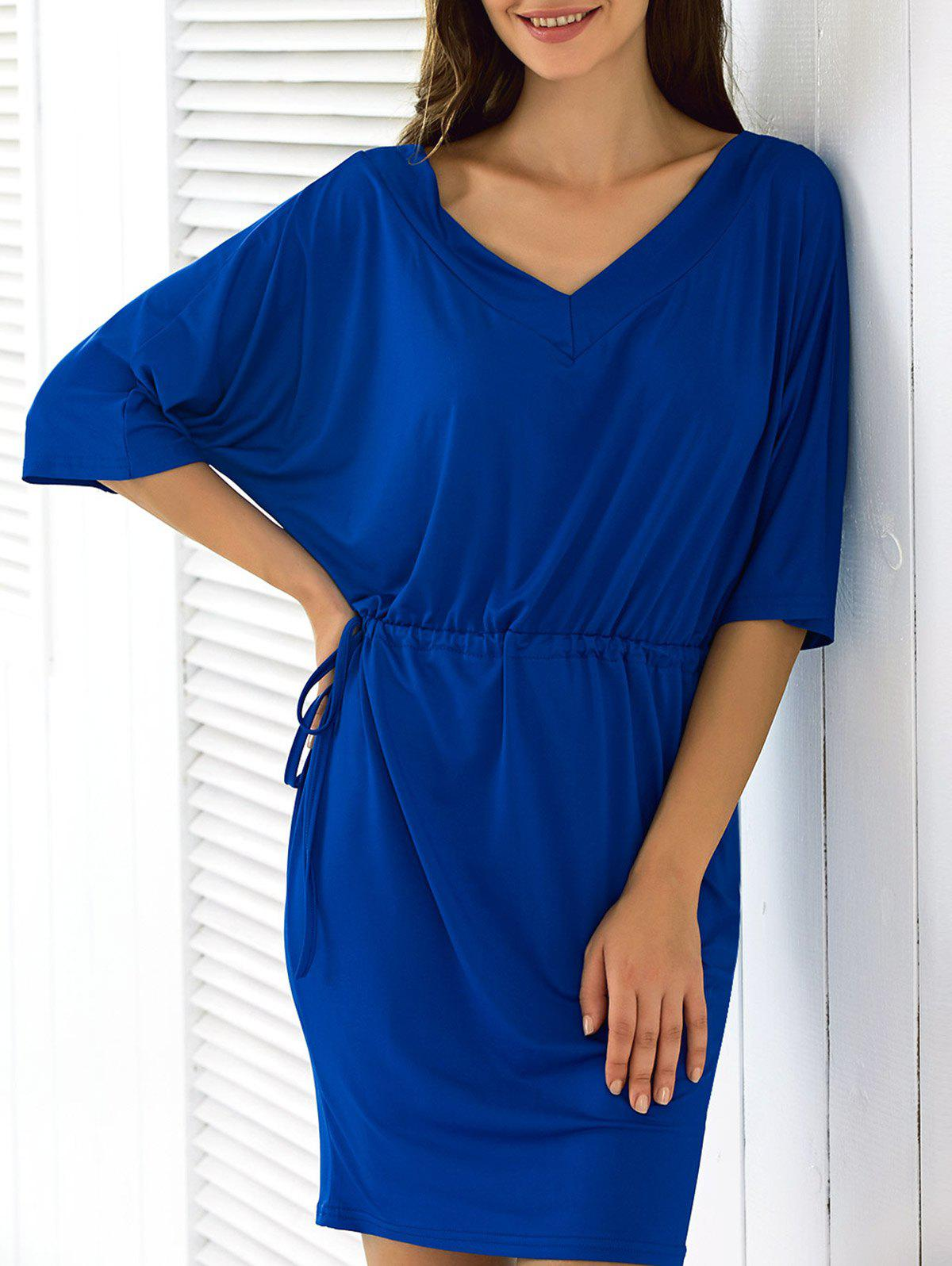 Batwing Sleeve Drawstring Dress - Bleu XL