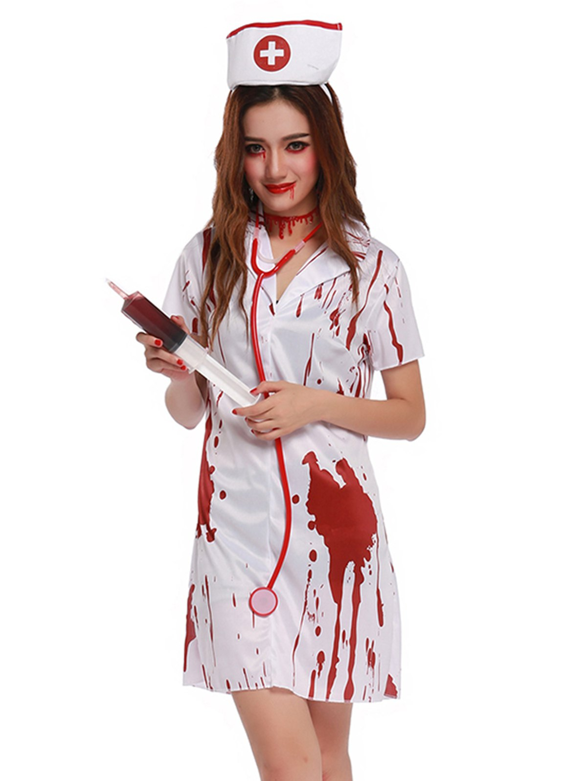 Blood Print Short Sleeve Mini Cosplay Costume - WHITE ONE SIZE(FIT SIZE XS TO M)