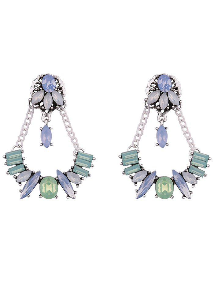 Faux Crystal Chains Geometric Earrings - WHITE