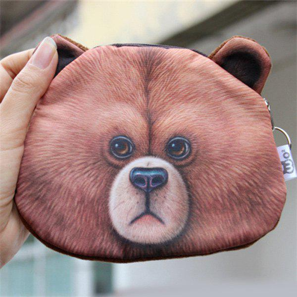 Zipper 3D Bear Coin Bag - BROWN