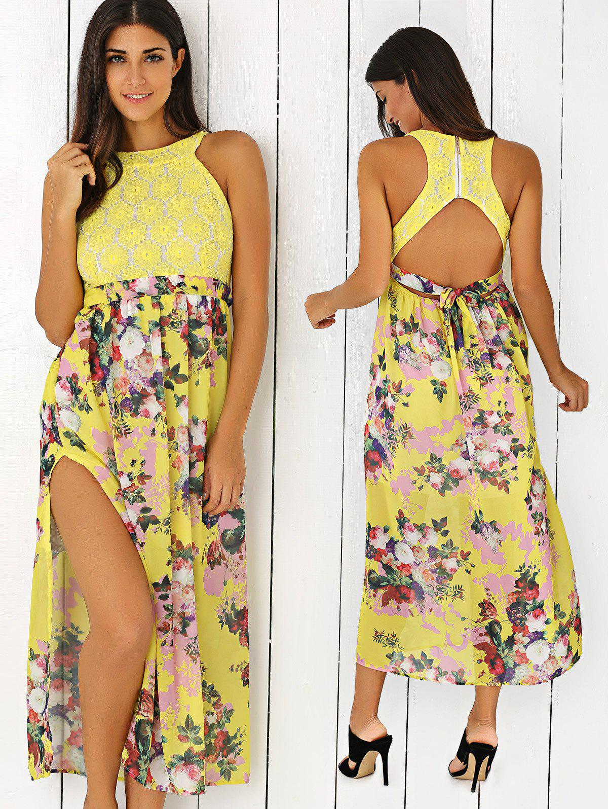 Floral Print Side Slit Cut Out Maxi Dress - YELLOW XL