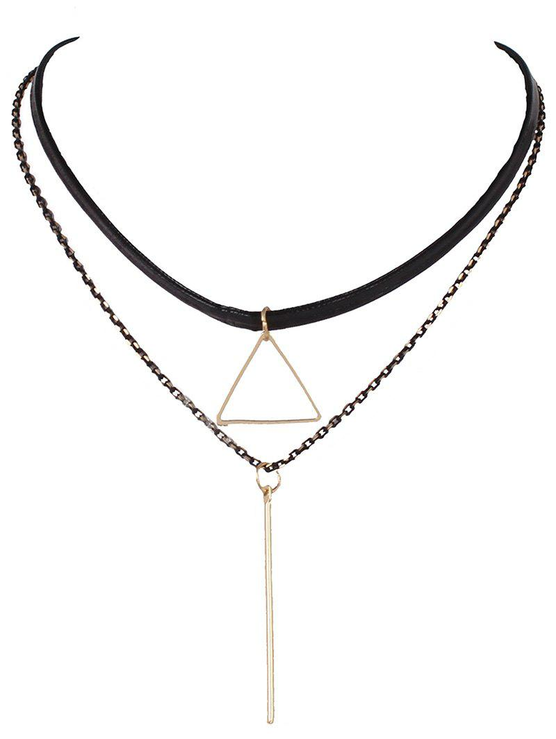 Triangle Bar Faux Leather Choker Necklace - BLACK