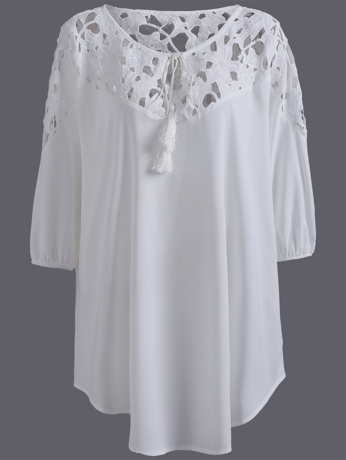Plus Size Asymmetric Lace Splice Crochet Blouse - WHITE 5XL