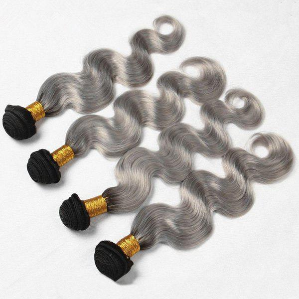 1Pcs Multi Body Wave Indian 5A Remy Hair Weave - BLACK/GREY 26INCH