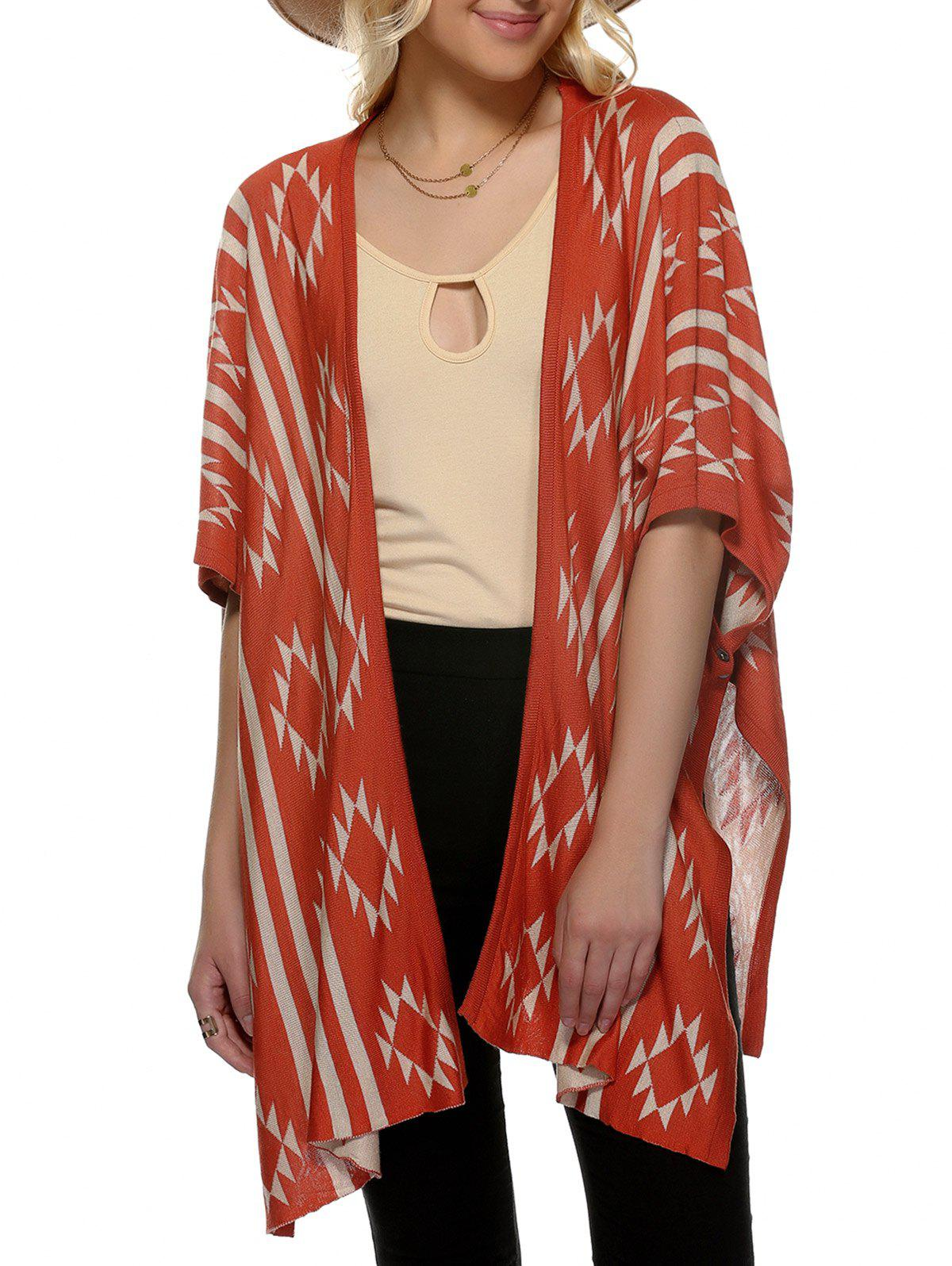 Loose Geometric Print Collarless 3/4 Sleeve Cardigan - JACINTH ONE SIZE