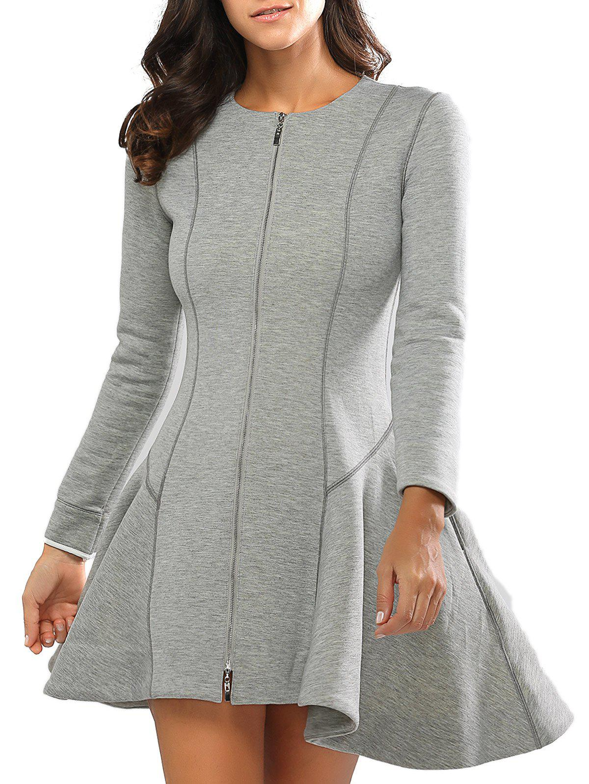 Long Sleeves Zipper Design A Line Dress - GRAY L