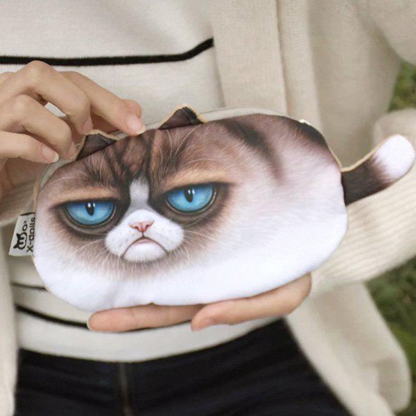 Lifelike 3D Kitten Coin Purse - BROWN