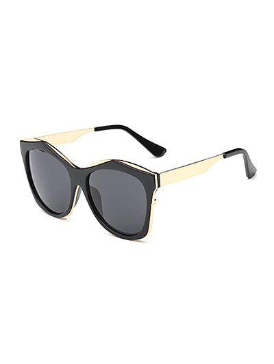 Double Frames Irregular Sunglasses - BLACK