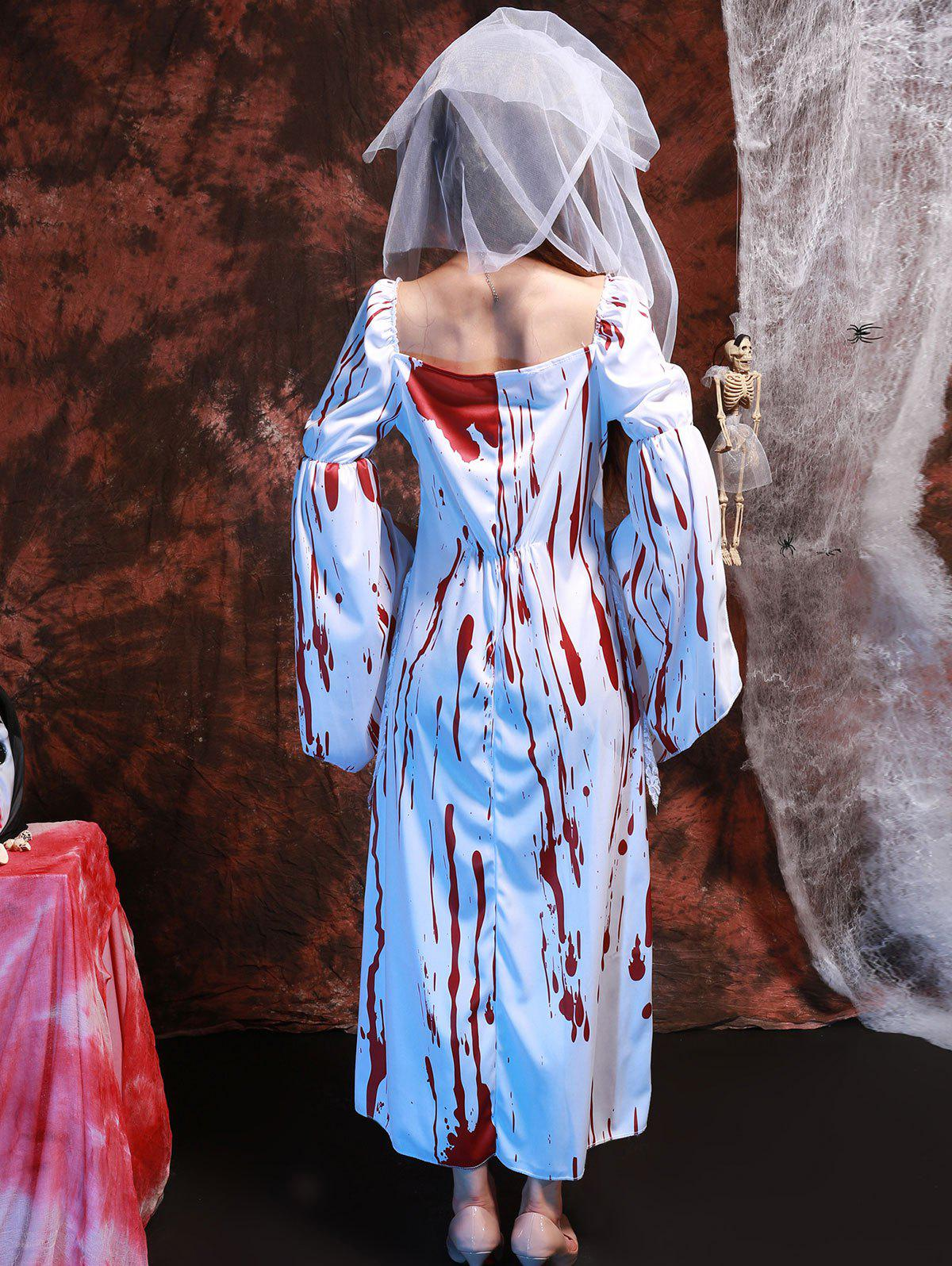 Sang Imprimer Dentelle Splicing Costume Cosplay Hallowmas - Blanc ONE SIZE(FIT SIZE XS TO M)