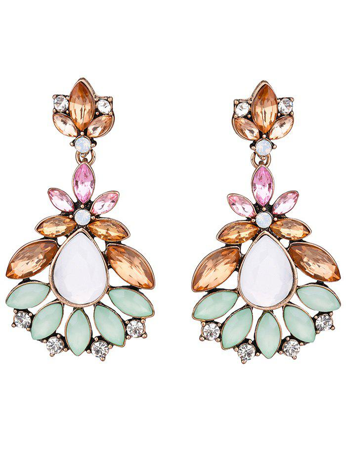 Faux Gem Leaf Water Drop Earrings