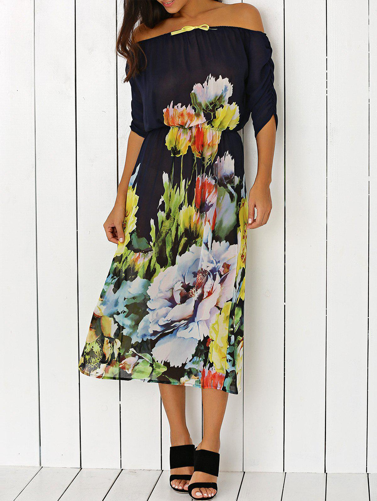Off-The-Shoulder Floral Print Chiffon Dress