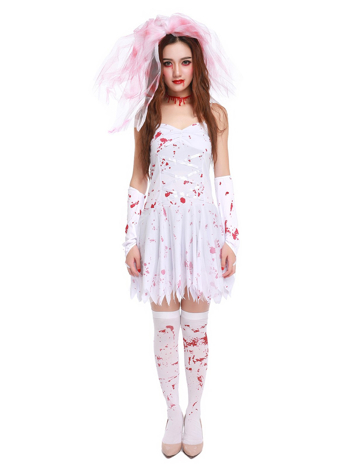 Blood Print Spaghetti Strap Hallowmas Cosplay Costume - WHITE M