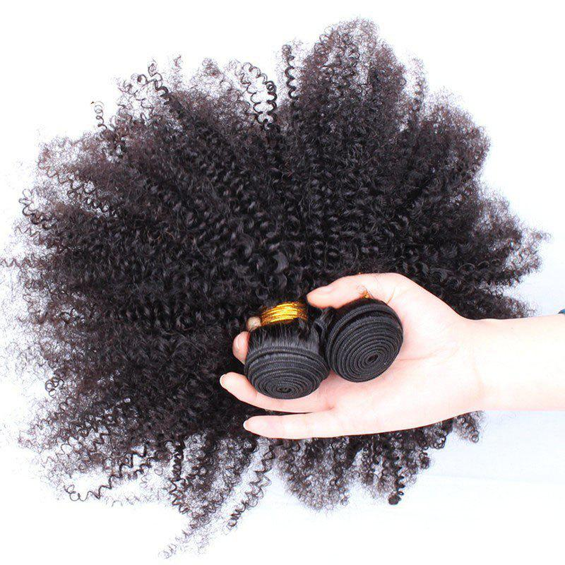 6A Virgin 1 Pcs Afro Kinky Curly Brazilian Hair Weave - BLACK 26INCH