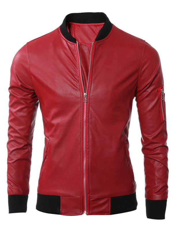 Stand Collar Zippered Rib Splicing PU Leather Jacket 193297609