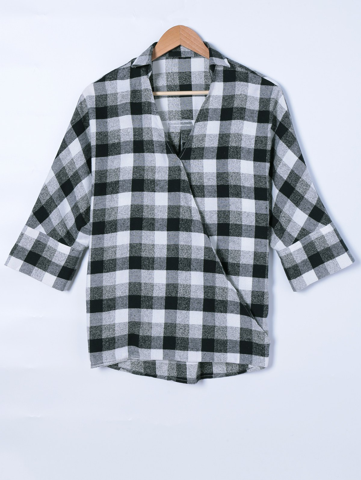 Faux Wrap Plaid Print Blouse