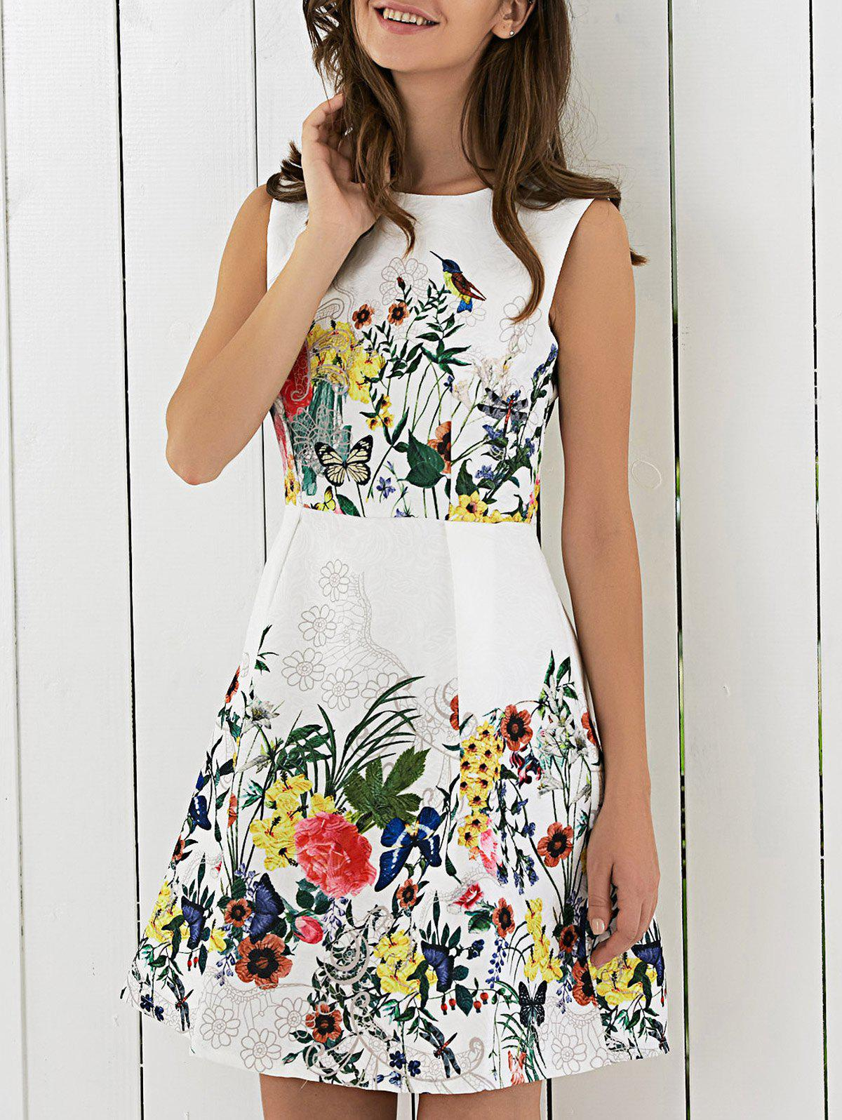 Flower Print Sleeveless Flare Dress - WHITE XL