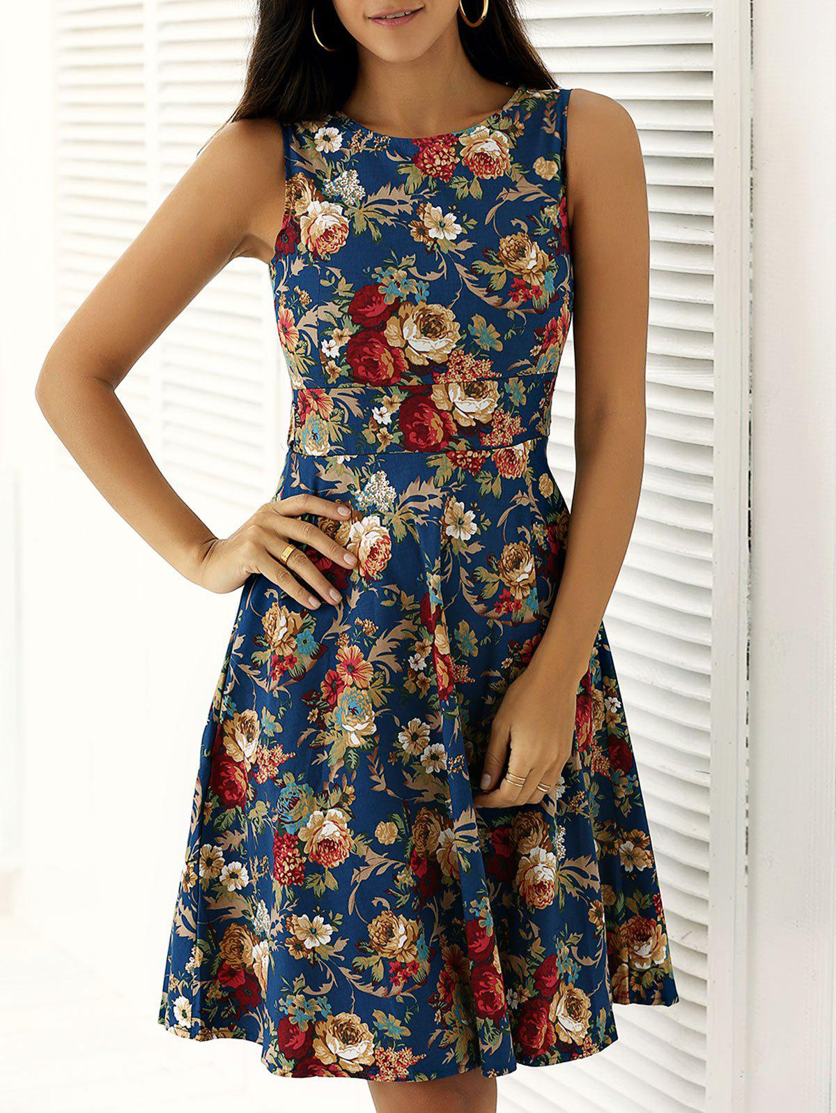 Flower Print Sleeveless Fit and Flare Dress - BLUE 2XL