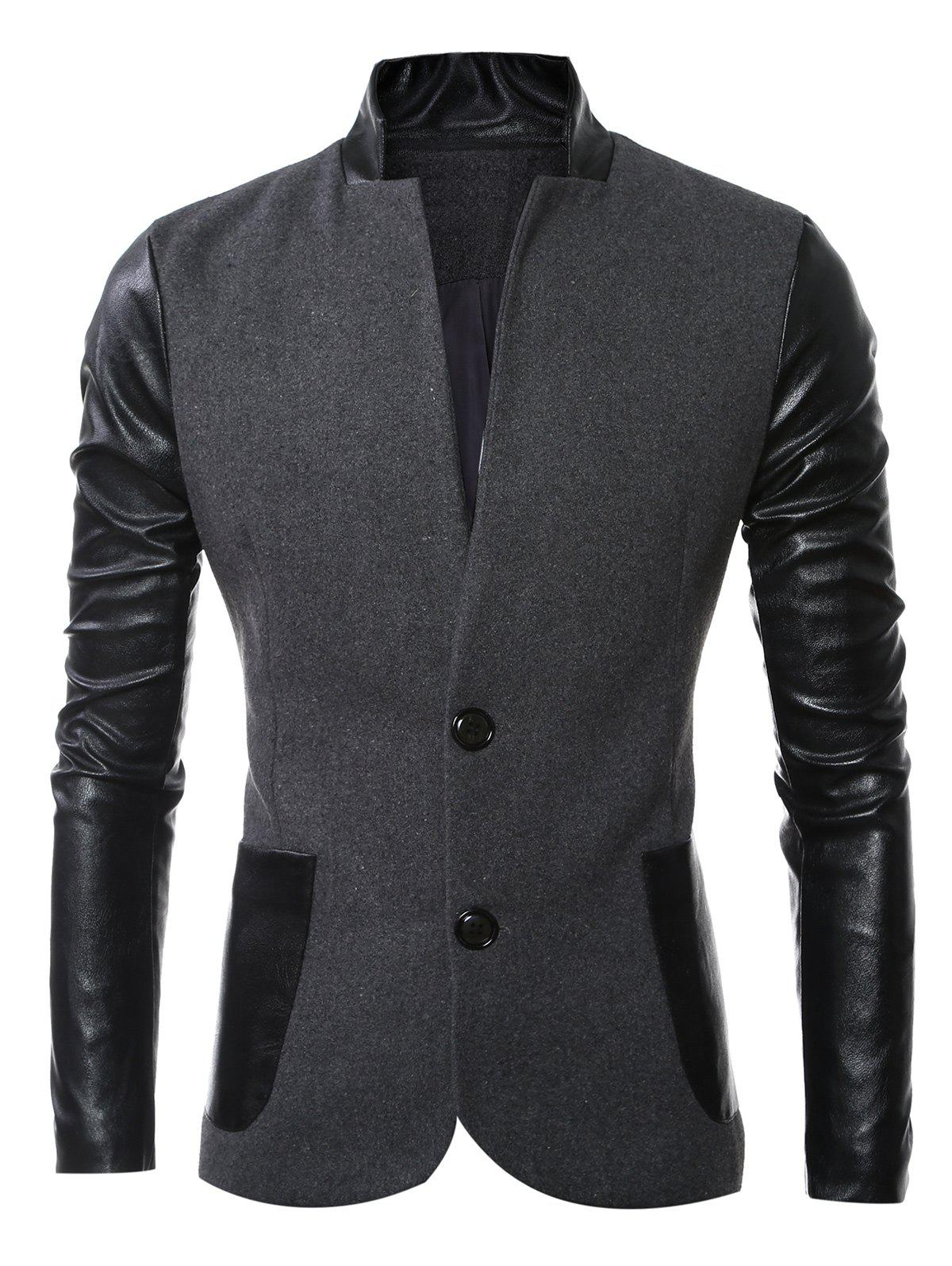 Slit Back Stand Collar Leather Spliced Woolen Jacket - 3XL DEEP GRAY