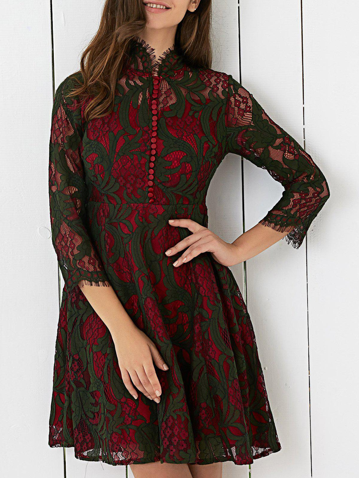 Color Block High Waist Lace Dress - DARK RED XL