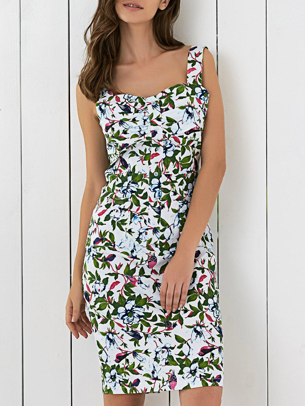 Charming Floral Printed Sleeveless Sweetheart Neck Sheath Dress - GREEN 2XL