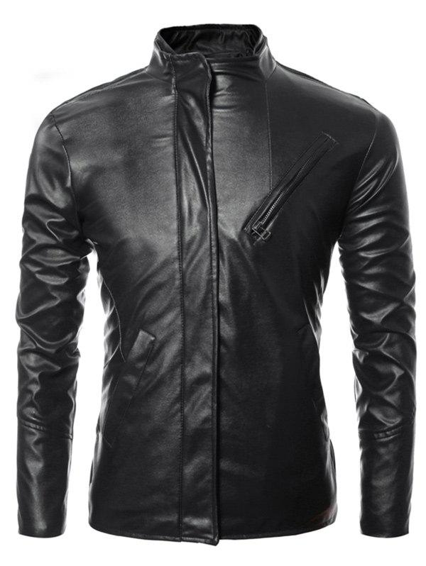 Long Sleeves Side Zip Up Faux Leather Jacket - BLACK 3XL