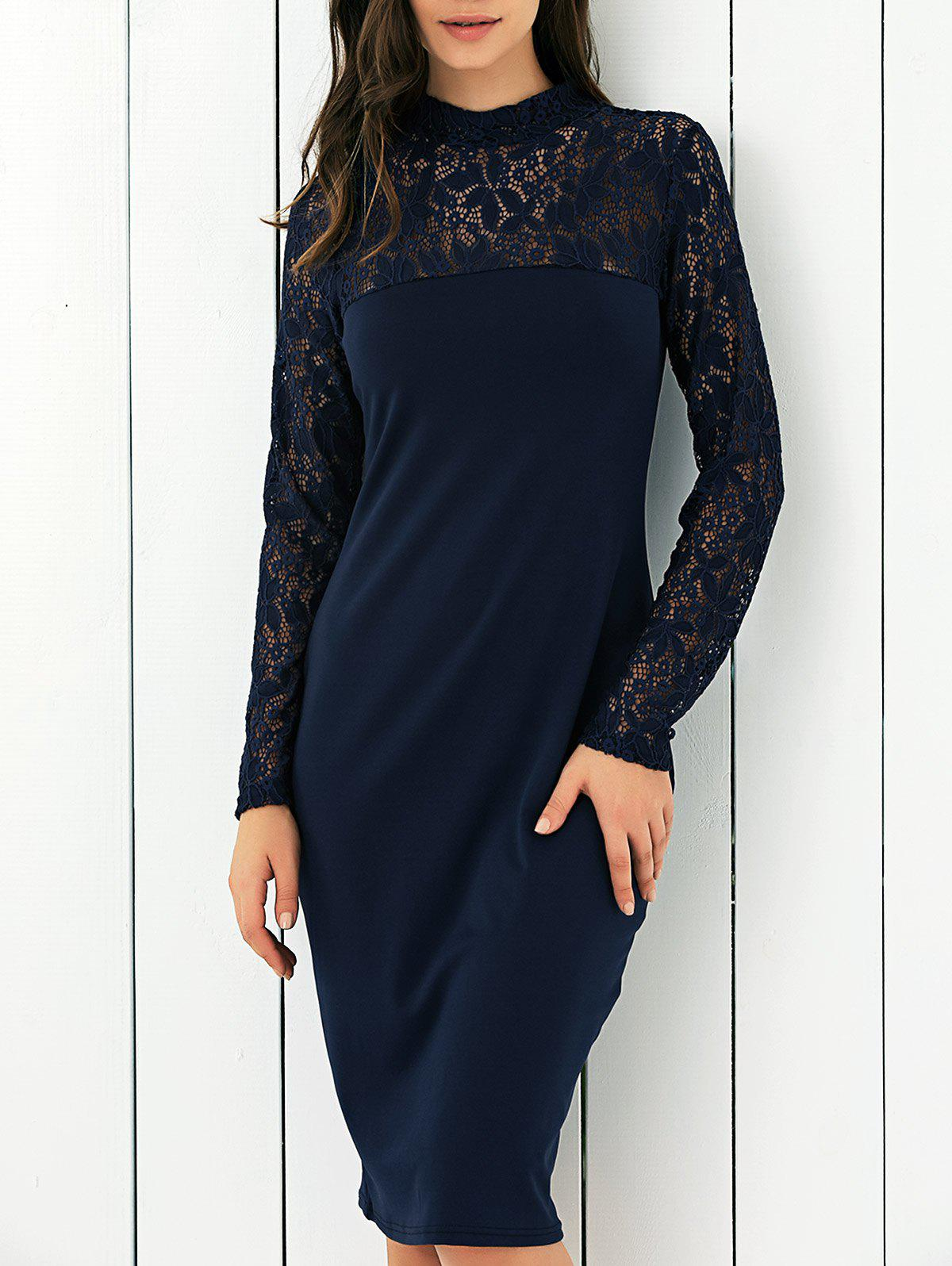 Lace Panel Club Dress - PURPLISH BLUE L