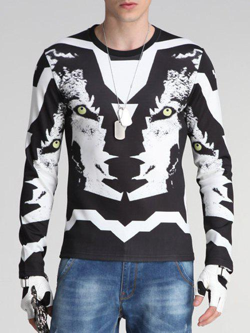 Round Neck Long Sleeve 3D Wolf Print Sweatshirt