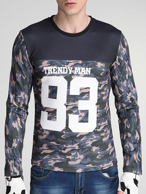 Round Neck Long Sleeve Camouflage and Letter Print Spliced Design Sweatshirt letter and number print round neck long sleeve sweatshirt for men