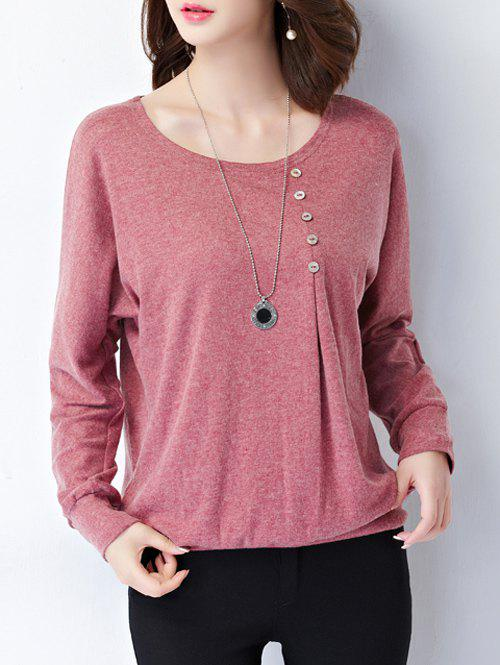 Plus Size Button Design Long Sleeve Tee - LIGHT RED 5XL