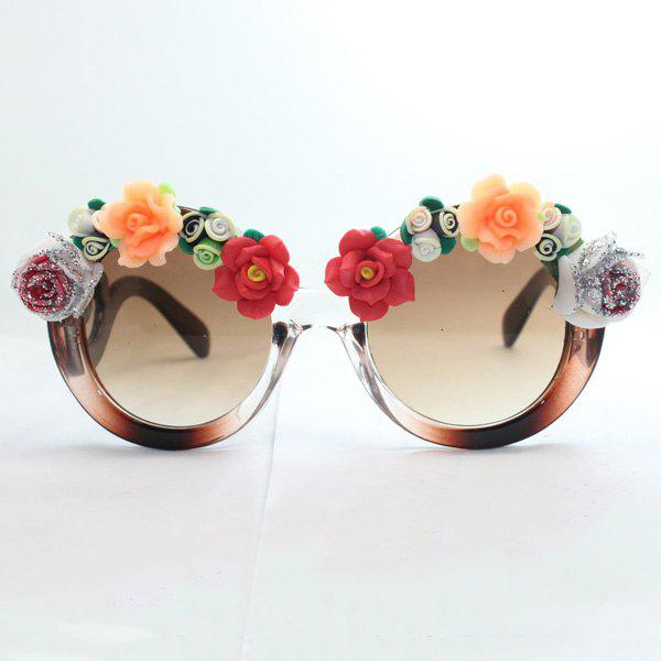 Chic Flower Shape Embellished Hot Summer Women's Flecky Sunglasses
