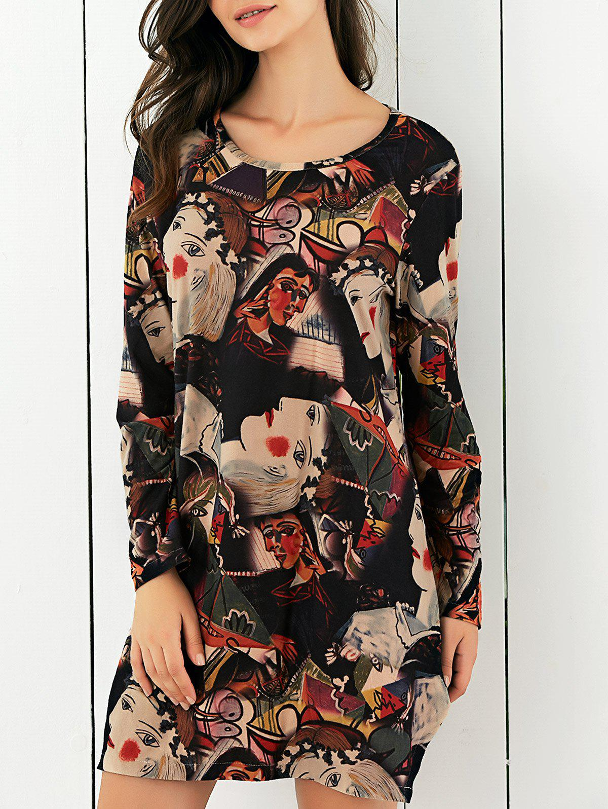 Abstract Face Print Side Slit Baggy Dress - COLORMIX XL