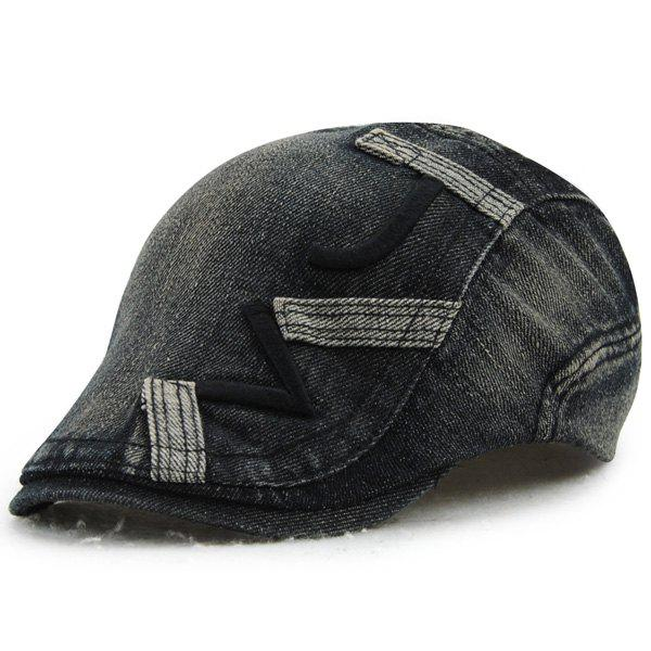 Stylish Letter Shape Embroidery Do Old Denim Fabric Cabbie Hat - BLACK