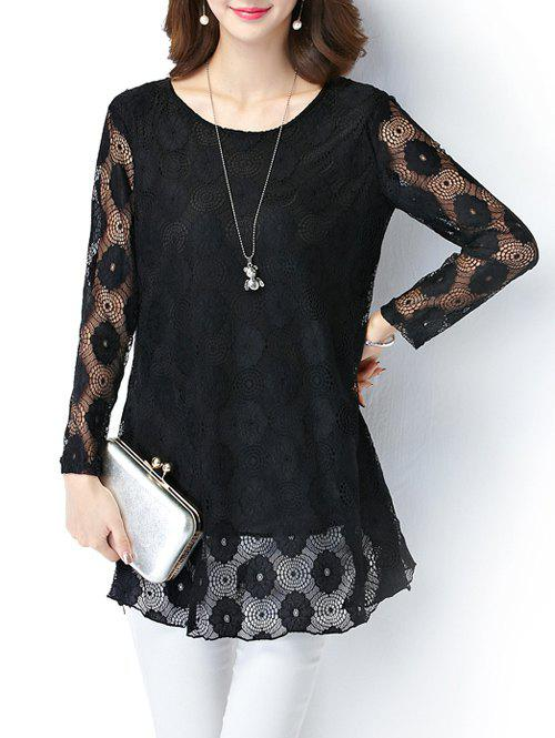 Lace Crochet Plus Size Long Sleeve Tee - BLACK 5XL