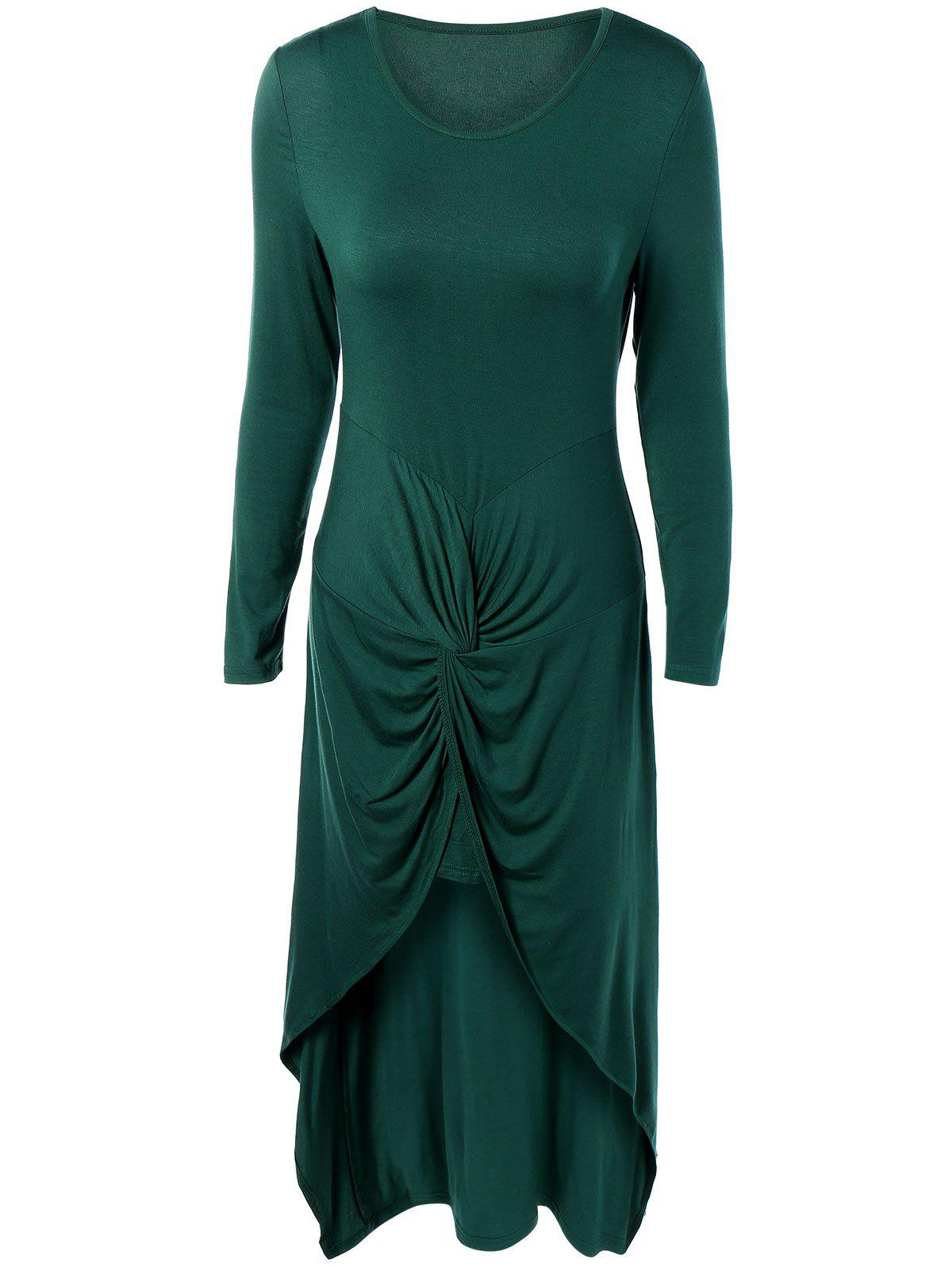 Long Sleeve High Low Front Knot Maxi Dress - GREEN 2XL