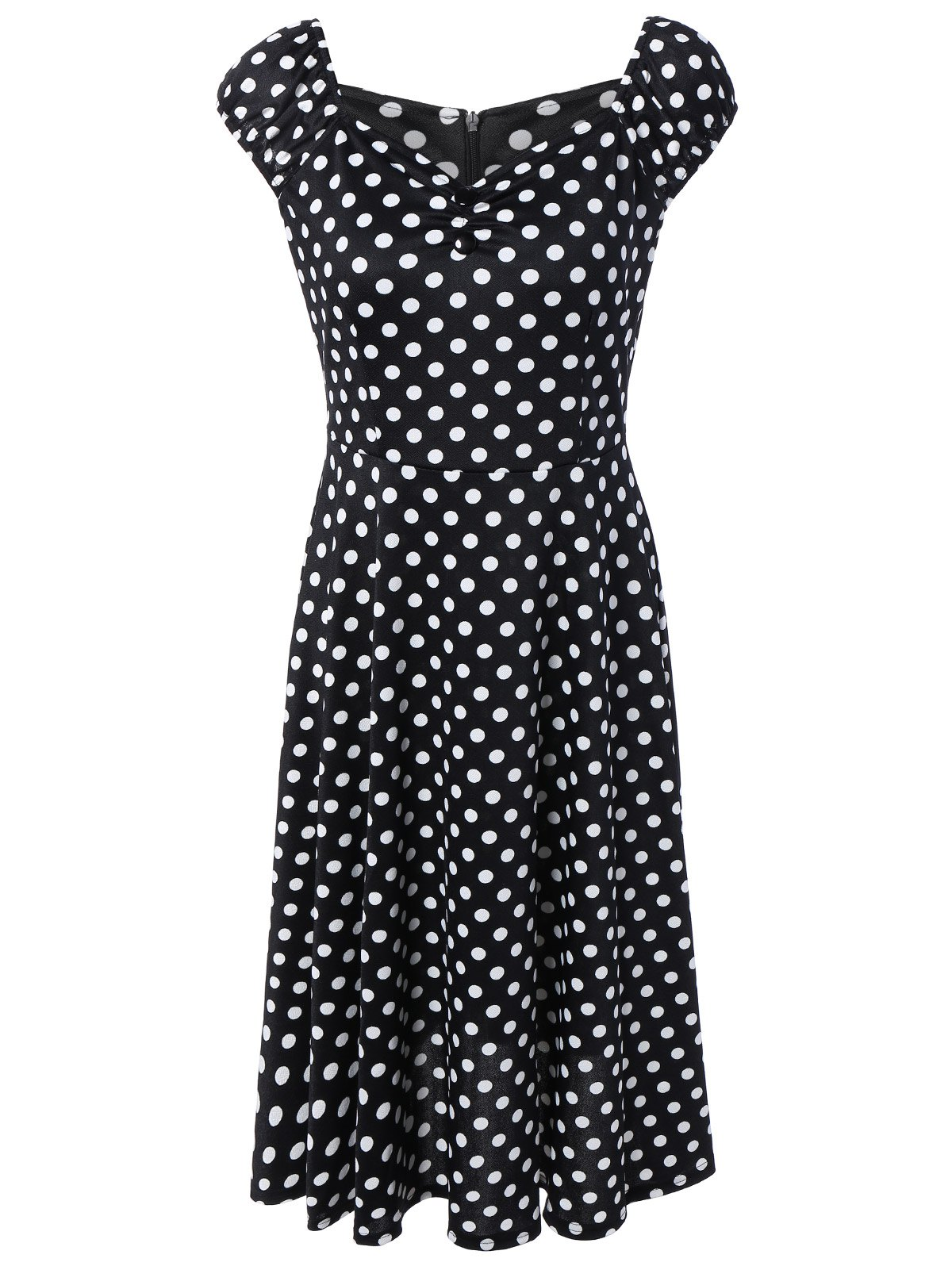 Buttoned Polka Dot Swing Dress - BLACK 2XL