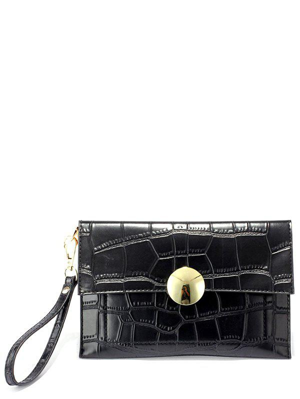 Metal Crocodile Pattern Clutch Bag