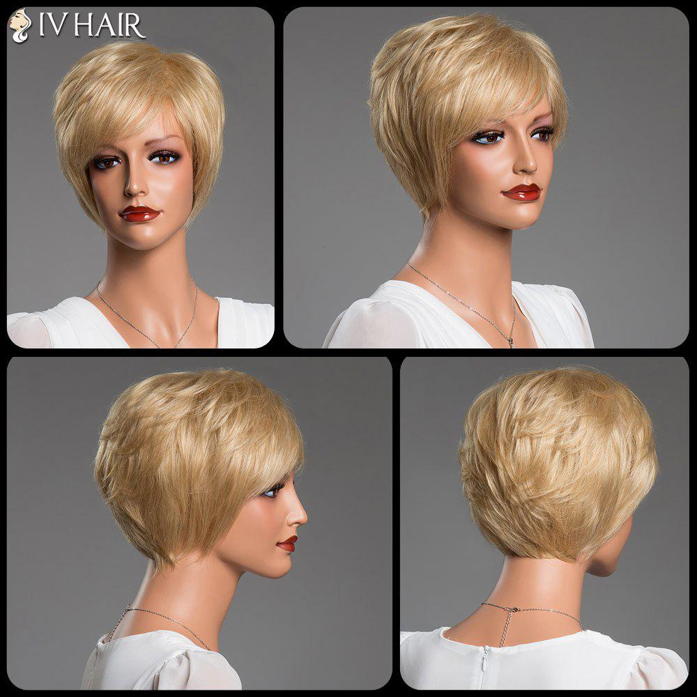 Side Bang Short Straight Real Spiffy Natural Hair Siv Wig - GOLDEN BROWN/BLONDE