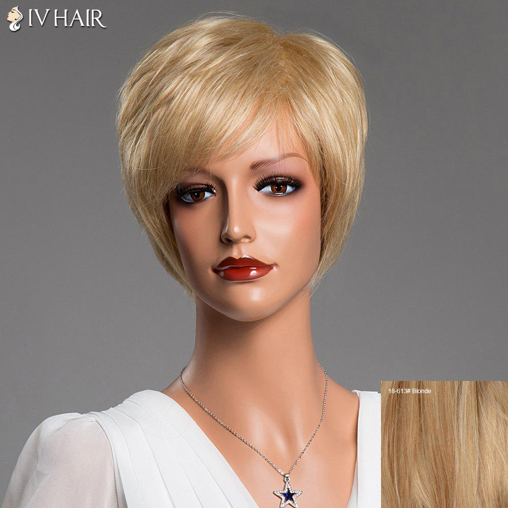Side Bang Short Straight Real Spiffy Natural Hair Siv WigHair<br><br><br>Color: BLONDE
