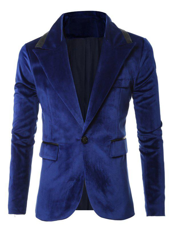 One-Button Leather Piping Design Long Sleeve Velvet Blazer - BLUE 3XL