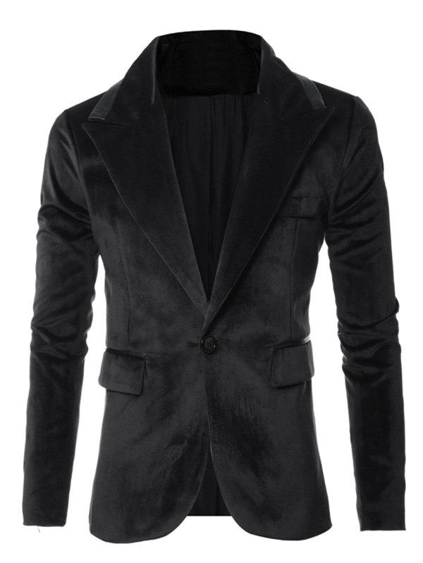 One-Button Leather Piping Design Long Sleeve Velvet Blazer - BLACK 2XL