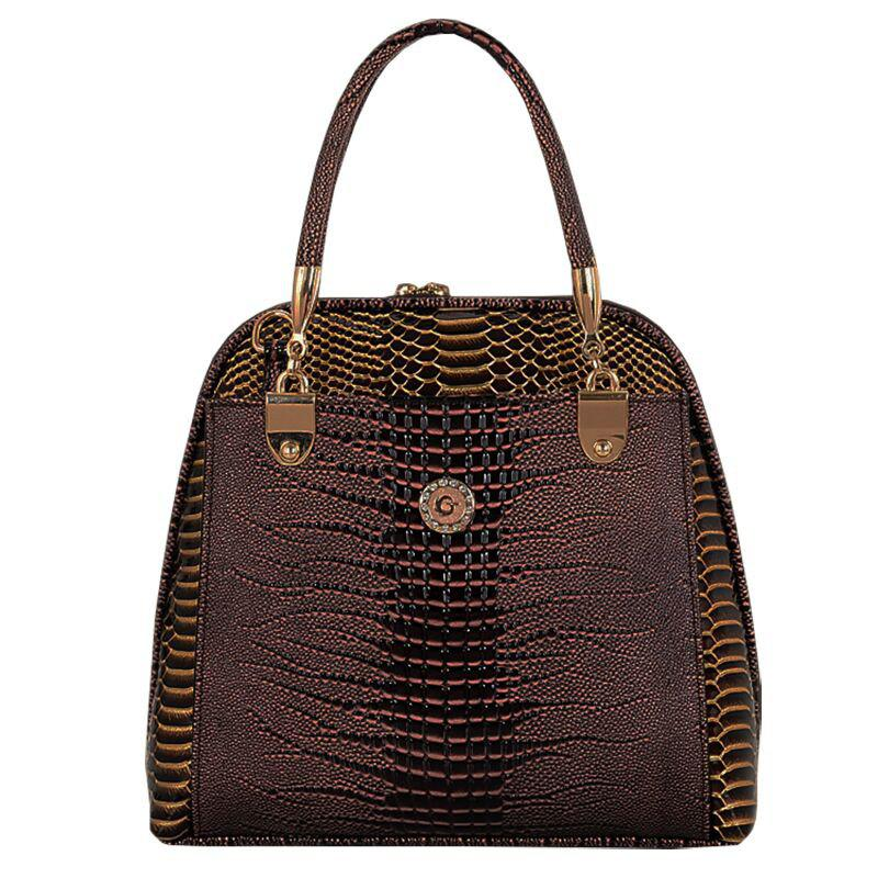 Stylish Style Snake Print and PU Leather Design Tote Bag For Women - BROWN