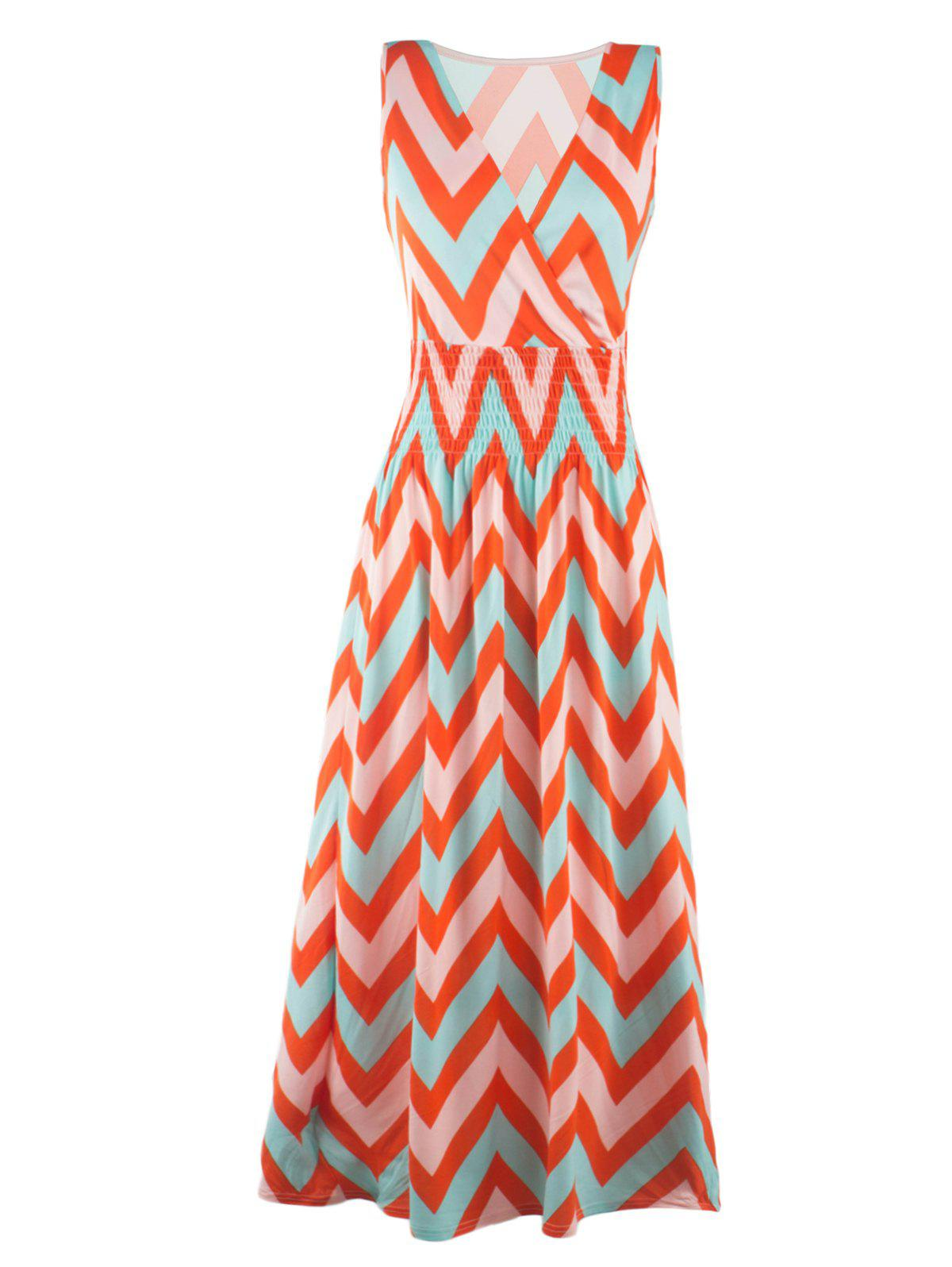 Bohemian Plung Neck Sleeveless Zig Zag Dress