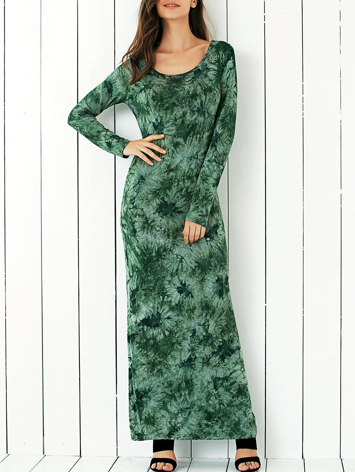 Long Sleeve Tie-Dye Floral Dress - GREEN XL
