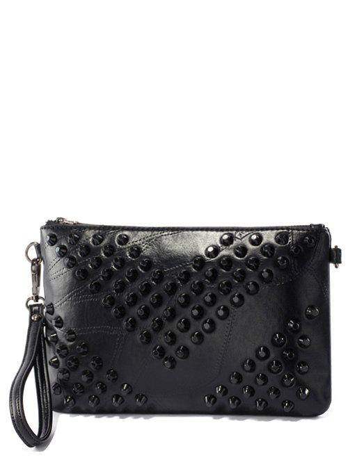 Stitching Rivets Clutch Bag - BLACK