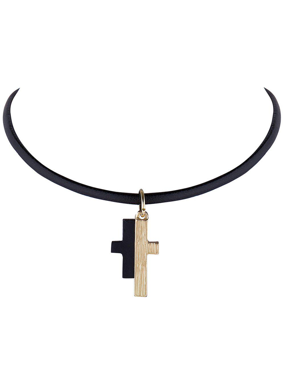 Spliced Cross Faux Leather Rope Choker Necklace - BLACK