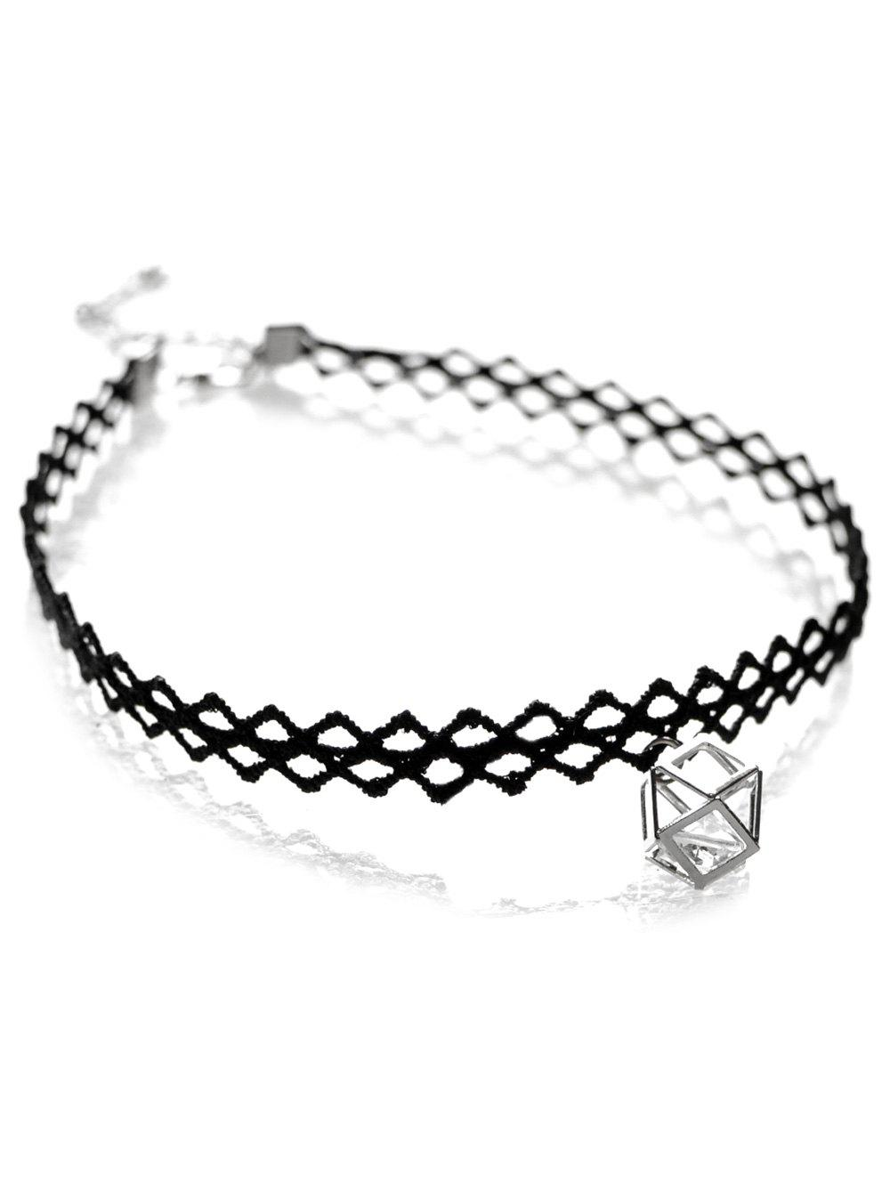 Cut Out Lace Geometric Choker - BLACK