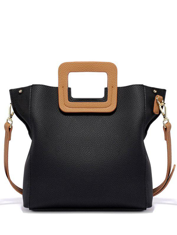 PU Leather Color Block Tote Bag - BLACK
